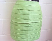 Soft pistachio green banded leather mini skirt - S