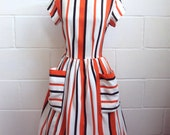 1960s Orange, black, white stripe day dress with wide pockets - M