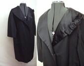 1950s Black faille & satin duster coat with rose collar - XL - HALLOWEEN SALE