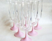 1960s Pink frosted milkshake glasses or Champagne flutes - set of 6