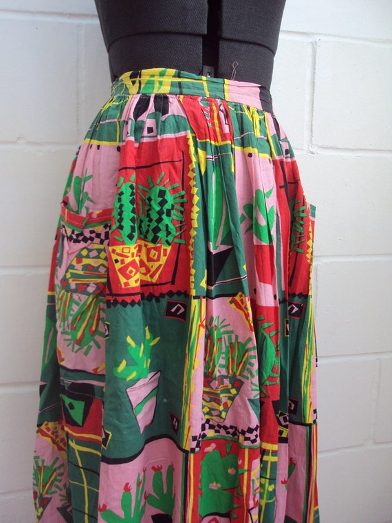 1980s vibrant day skirt with bright cactus print - M L