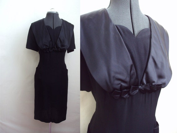 1950s 60s Black crepe & satin wiggle dress by Form Fit - XL - HALLOWEEN SALE