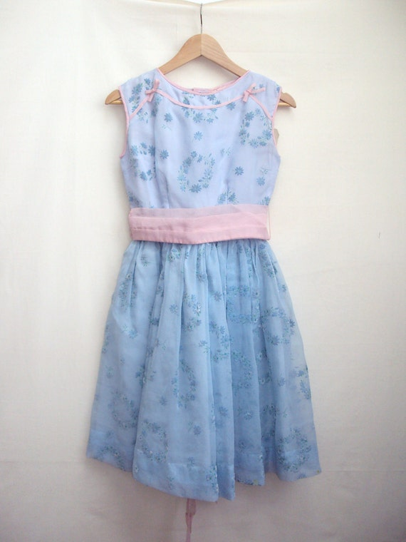 SALE 1960s Pale blue & pink flocked chiffon party dress - Youth