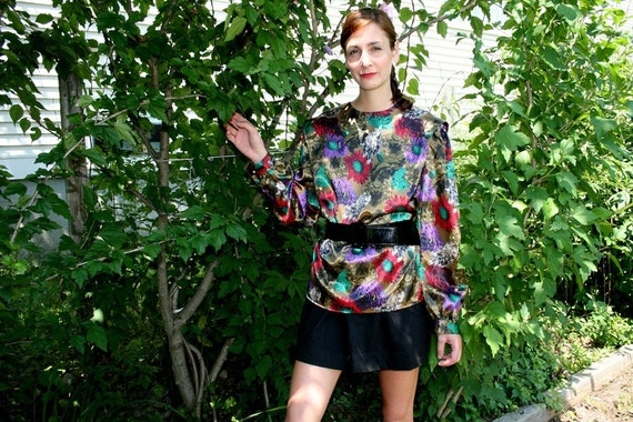 S A LE - - Shiny polyester floral blouse