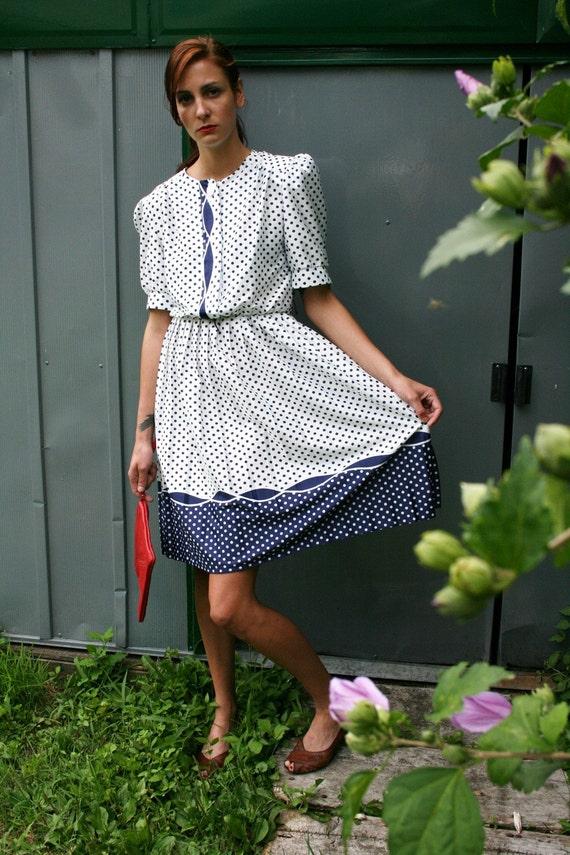 S A L E - - Navy Blue Polka Dot Dress
