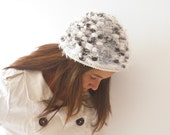 Hat grey white, hand knit for women and ladies, italian pompom hat
