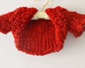 Red baby shrug, bolero volant for flower girl baby children 6 months 1 year