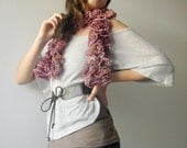 Pink Scarf Spring accessory hand knitted in ruffle yarn for women