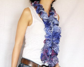 Ruffle blue scarf with hand knitted ruffle volant, scarf with pink and burgundy