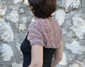 Shrug rouge noir, knit in silk for women, rustic