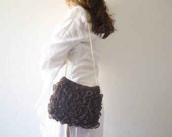 Brown bag, Bridesmaids's Gift, coffee Purse handknit RosaLu'