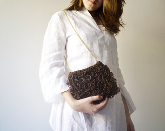 Brown bag, Bridesmaids's Gift, coffee Purse handknit RosaLu'