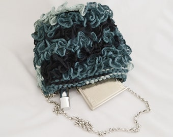 Blue bag, grey purse, Bridesmaids's Gift,  handknit