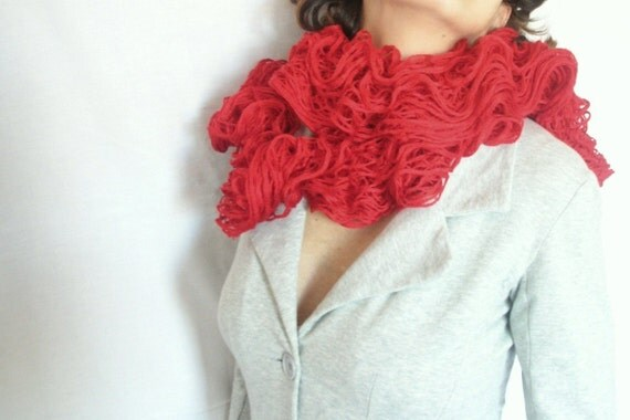 Red Scarf  for Valentine's Day ruffle long scarf hand knitted soft scarf