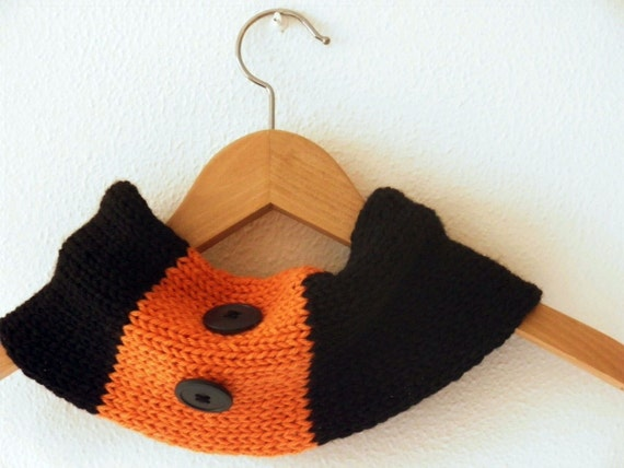 Neckwarmer black orange wool, handknit cowl, Halloween, warm and fashion for women