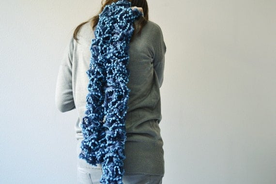 Blue Scarf, knit for women, shawl winter accessory