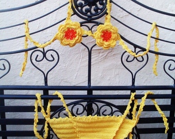 Summer 2011 yellow bikini with flowers for girl handmade