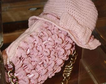 1980s Crochet Accessories Pink Cloche , Boho Style Winter Pink Cloche   , Fall  Crochet Hat .