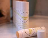 Honey Bee Naturals GINGER VEGAN Lip Balm with Vitamin E, Cocoa Butter and Rosehip Oil