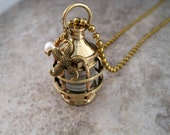 Nautical Steampunk Brass Lantern Necklace By Metals And Time