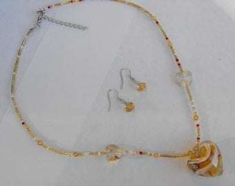 MARBLE GLASS HEART Beaded Necklace/Earring Set - Amber