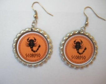 BOTTLE CAP EARRINGS - Zodiac - Choose Leo, Virgo, Scorpio, Libra
