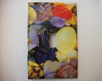 SWITCH PLATE COVER - Leaves in Color