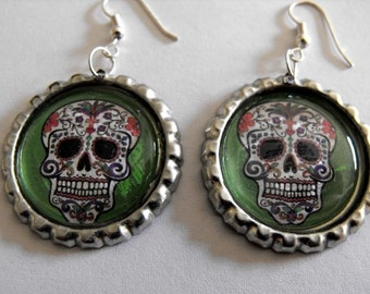 BOTTLE CAP EARRINGS - Sugar Skull - Green
