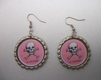 BOTTLE CAP EARRINGS - Skull and Bones