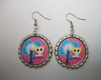 BOTTLE CAP EARRINGS - Owl