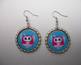 BOTTLE CAP EARRINGS - Owls