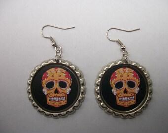BOTTLE CAP EARRINGS - Sugar Skull - Black/Orange