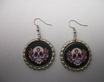 BOTTLE CAP EARRINGS - Sugar Skull - Black/White