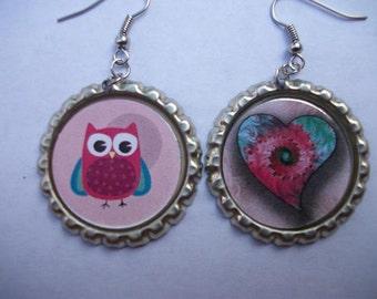 BOTTLE CAP EARRINGS - Owl and Heart