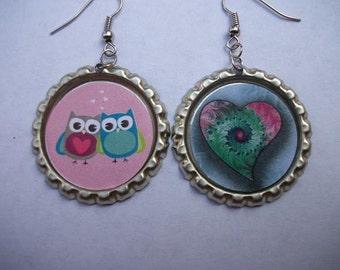 BOTTLE CAP EARRINGS - Owls and Heart