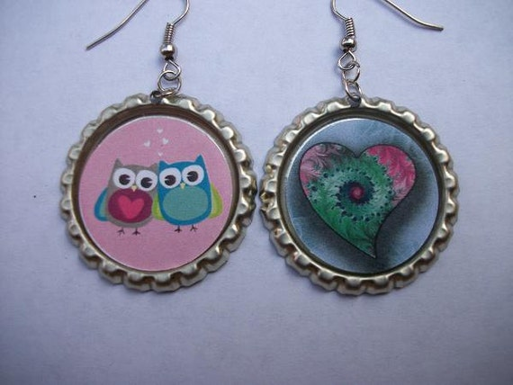 BOTTLE CAP EARRINGS - Owls and Heart
