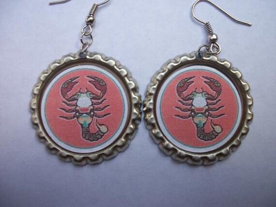 BOTTLE CAP EARRINGS - Zodiac - Choose Scorpio, Capricorn, Gemini, or Cancer