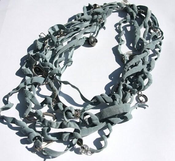 Indigo Blue Leather Necklace Zulya Ready to ship