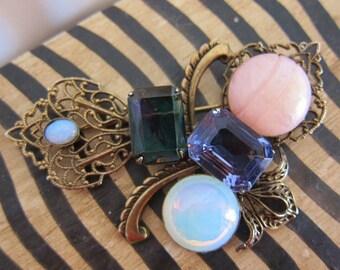 Large Jeweled Filigree Victorian Revival  Brooch
