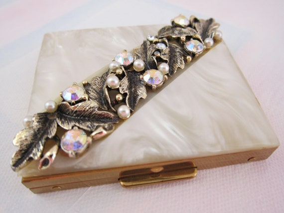 Vintage Saks Fifth Avenue Compact Faux Mother of Pearl Top