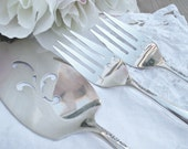 Cake Server vintage I Do Me Too  with hand stamped  forks  for Wedding  Table Setting silverplate
