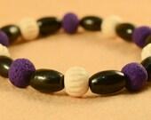 Regal Purple, Black and Cream Bracelet
