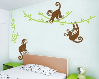 Full set of playing monkeys wall decal