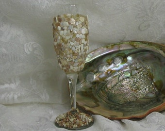 Shell seashell seaglass starfish wine glass FREE SHIPPING