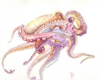 ORIGINAL Octopus watercolor painting