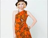 Tropical Tangerine 1970s Asymmetrical Floral Resort Dress--XS
