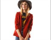 Ultra Cute RUST Brick Colored Ladies Poly Blazer--M