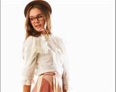 Price Reduced--Pretty Hippie Flouncy Lace Trim Button Up Blouse--S/M