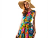 Tiki Party 1960's Psychedelic Neon Floral Resort Jumpsuit--S/M