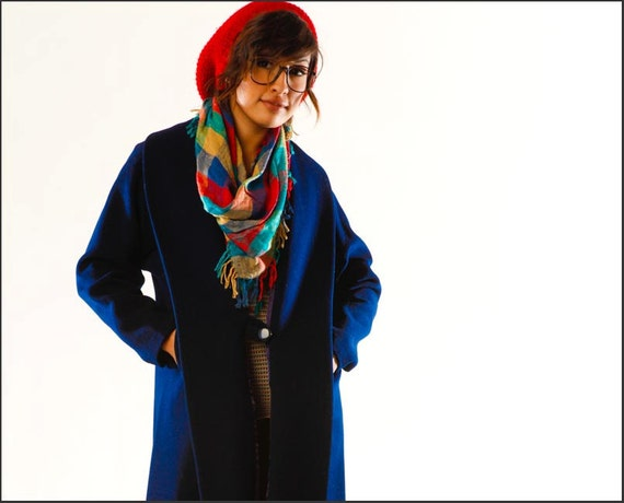 Midnight Blue Vintage 1960's Tab Button Winter Overcoat with Lavender Stitching--M